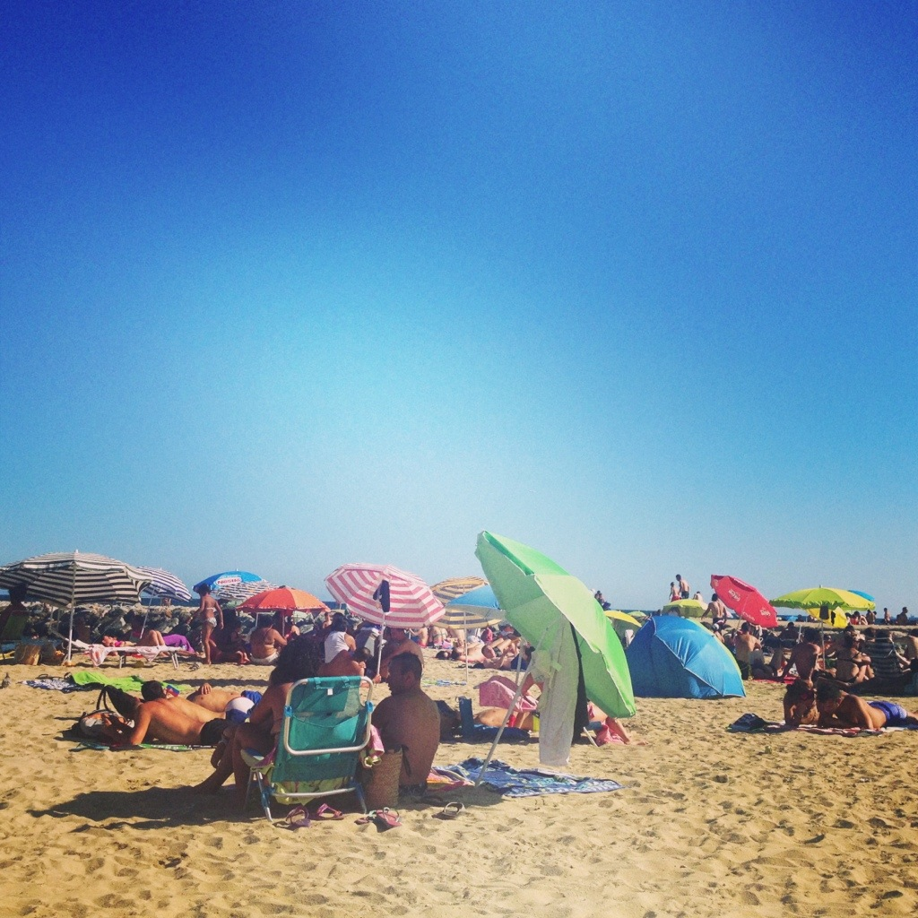 On the beach in Barcelona
