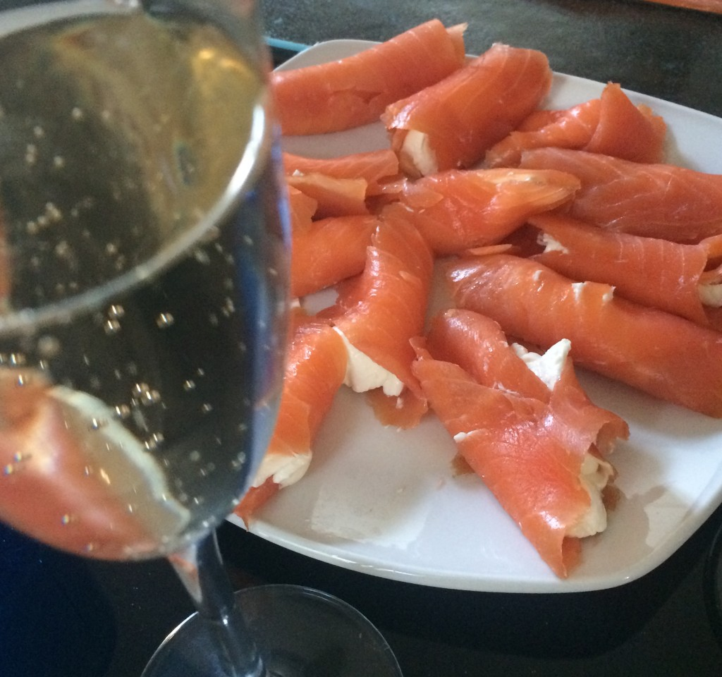 salmon and champagne