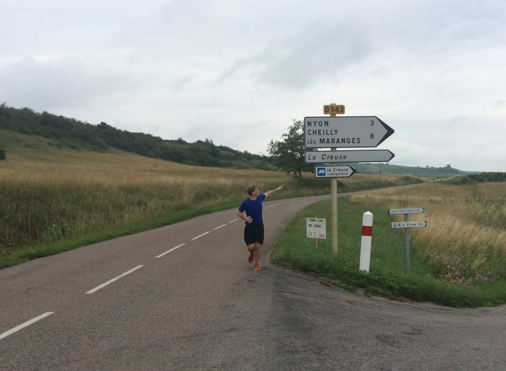 running in burgundy