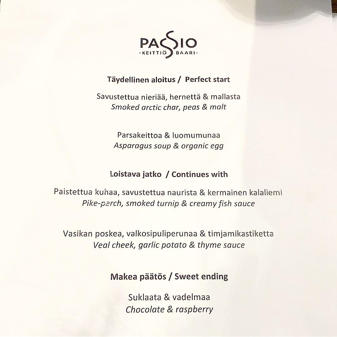 Passio Dining Menu - A Whirlwind 24hrs in Helsinki - StefanieGrace.com